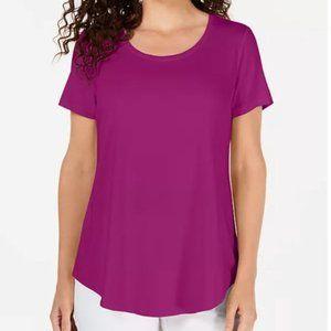 JM Collection Short Sleeve Scoop Neck Shirt Top